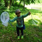 生き物だけでなく、大きなふきの葉っぱも子どもには大発見、大喜びです